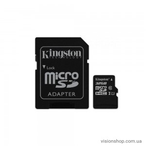Карта памяти Kingston MicroSDHC/MicroSDXC 32GB Canvas Select Class 10 UHS-I + SD адаптер (SDCS/32GB)